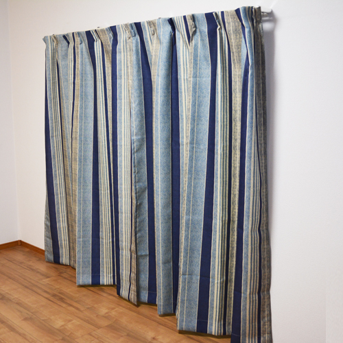 コーナン オリジナル カーテンレイス ブルー 2枚組 約幅100×丈178cm