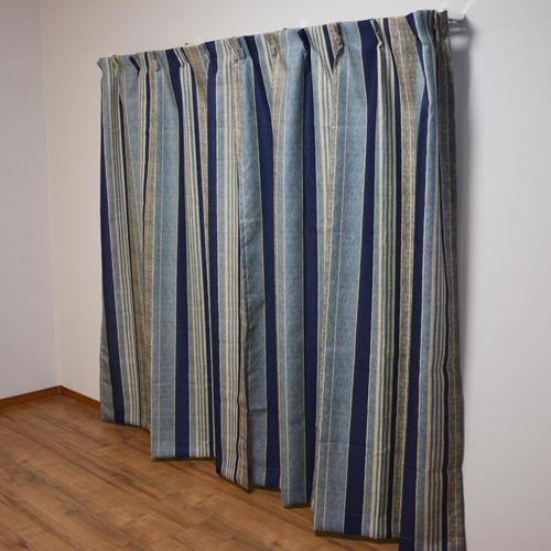 コーナン オリジナル カーテンレイス ブルー 2枚組 約幅100×丈200cm