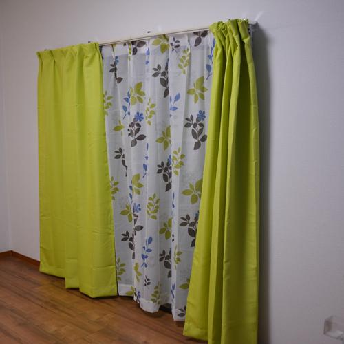 コーナン オリジナル カーテンフランド グリーン 4枚組 約幅100×丈200cm