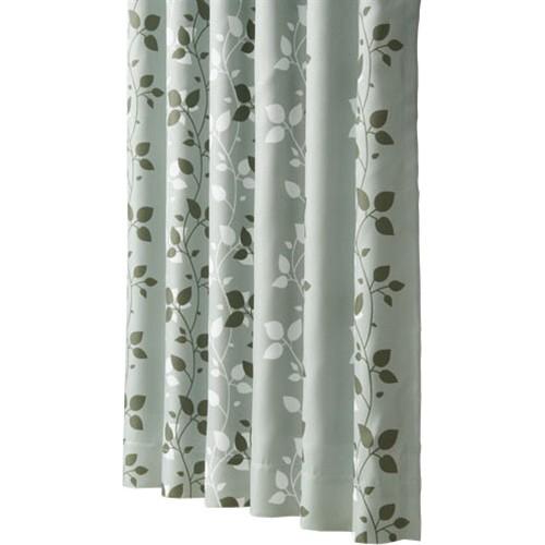 コーナン オリジナル 遮光性プリントカーテン 『リーフ』 グリーン 約幅100×丈135cm 2枚組