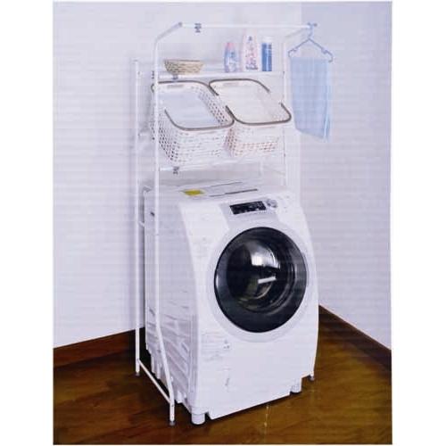 コーナン オリジナル 市販のバスケットを置いて使える バスケット棚付 洗濯機ラック HON21-2823 サイズ:W67〜97(外寸)・W61〜91(内寸)×D46×H186cm