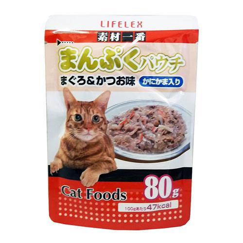 ◇ コーナン オリジナル まんぷくパウチ まぐろ&かつお味 かにかま入り 80g