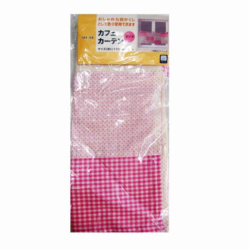 コーナン オリジナル カフェカーテン 「キュート」 約110×45cm ピンク