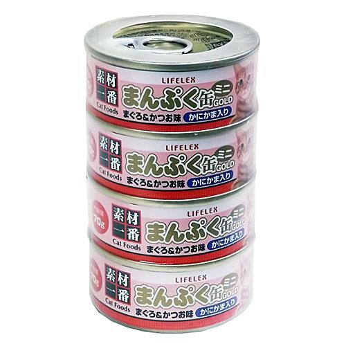 コーナン オリジナル まんぷくミニ缶ゴールド まぐろかつお味かにかま入り ゼリータイプ 70g×4缶