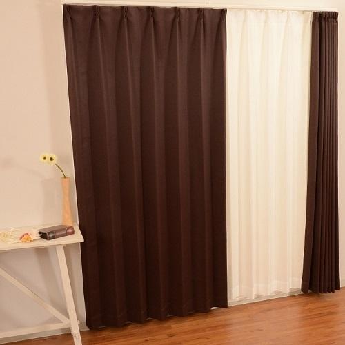 コーナン オリジナル カーテンチョコレート2枚組 ダークブラウン 約幅100×丈135cm