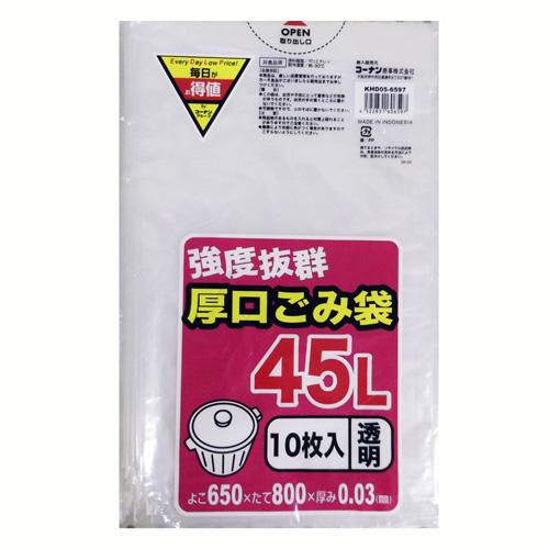 コーナン オリジナル 厚口ごみ袋 透明 45L KHD05−6597