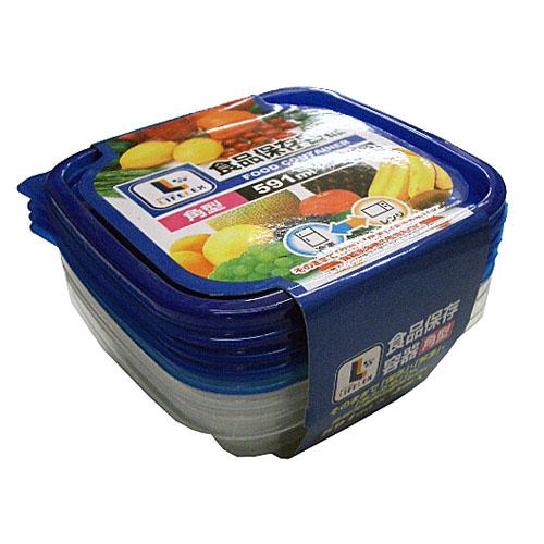 コーナン オリジナル 食品保存容器 角型 591ml×4個入