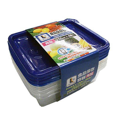 コーナン オリジナル 食品保存容器 角型 750ml×4個入