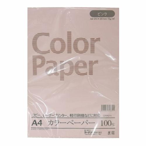 コーナン オリジナル A4カラーペーパー 100枚入 A4 ピンク CPP011