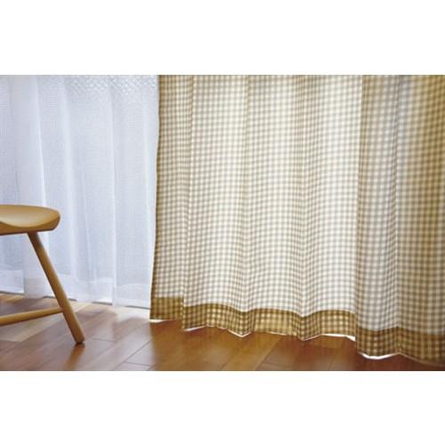 コーナン オリジナル カーテン ギンガムチェック 4枚組 ベージュ 厚地 約幅100×丈178cm