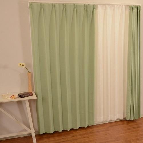 コーナン オリジナル カーテンチョコレート2P グリーン 約幅100×丈135cm