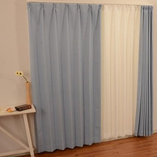 コーナン オリジナル カーテンチョコレート2枚組 ブルー 約幅100×丈178cm