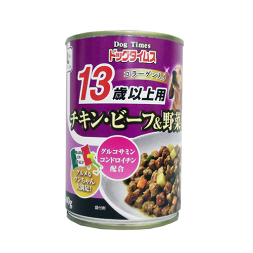 コーナン オリジナル ドッグタイムス缶 13歳以上用 チキン・ビーフ&野菜 400g