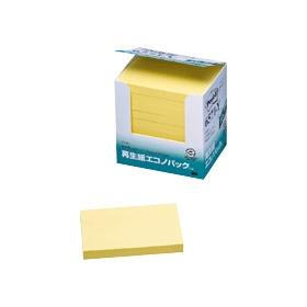 再生紙エコノパックノート 75×100mm イエロー 10冊 335338