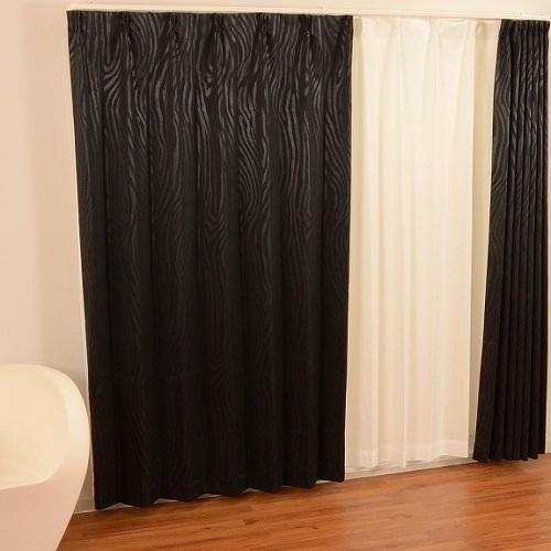 厚地カーテン オズモ2 2枚組 幅100×高さ135cm ブラック