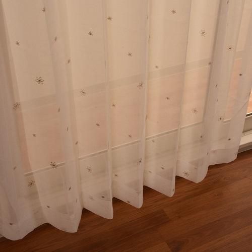 レースカーテン セフィ 2枚組 幅100×高さ133cm ベージュ