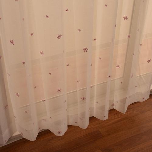 レースカーテン セフィ 2枚組 幅100×高さ133cm ピンク