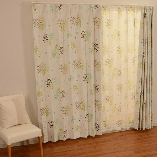 厚地カーテン ハッチ 2枚組 幅100×高さ135cm グリーン