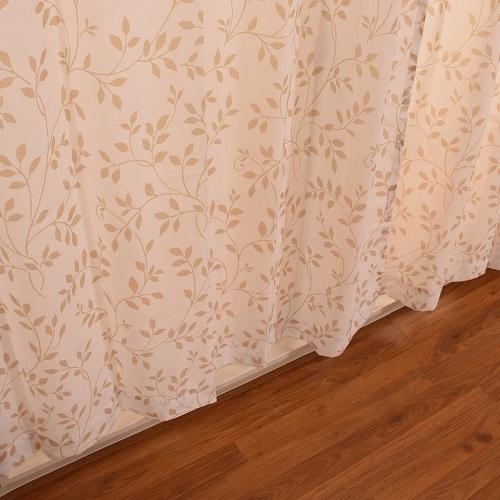 レースカーテン ボイルアイリス 2枚組 幅100×高さ133cm ブラウン