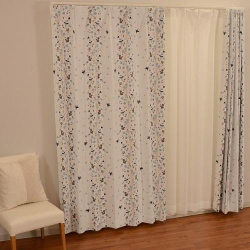 厚地カーテン ボスカート 2枚組 幅100×高さ135cm ブルー