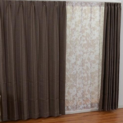 厚地カーテン プロト 4枚組(厚地2枚+レース2枚) 幅100×高さ135cm ブラウン