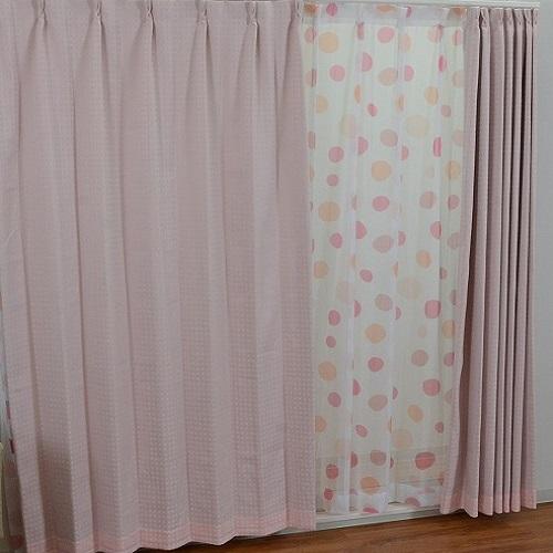 厚地カーテン サリナ 4枚組(厚地2枚+レース2枚) 幅100×高さ135cm ピンク