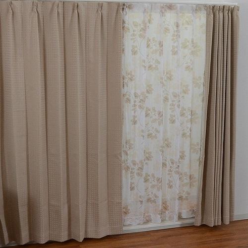 厚地カーテン サージ 4枚組(厚地2枚+レース2枚) 幅100×高さ135cm ベージュ