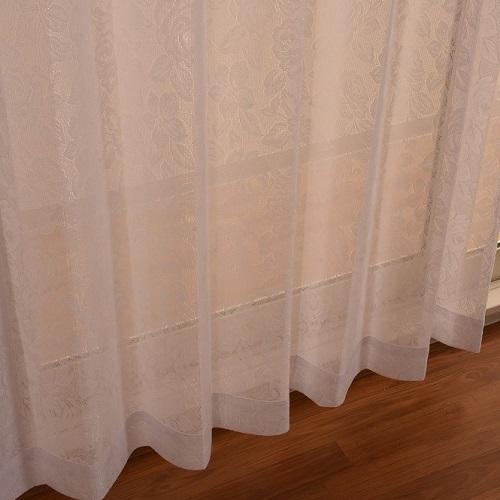 レースカーテン メタリナ 2枚組 幅100×高さ98cm ホワイト