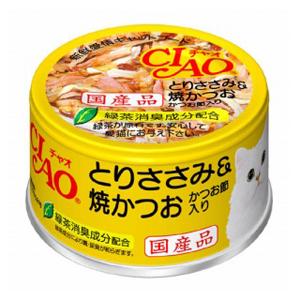 いなばペットフード CIAO ホワイティ とりささみ&焼かつお かつお節入り 85g Cー54