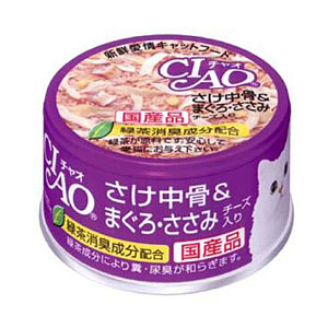 いなばペットフード CIAO さけ中骨&まぐろ・ささみチーズ入り 85g