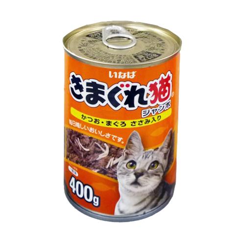 ◇ いなばペットフード きまぐれ猫ジャンボ かつお・まぐろ ささみ入り400g