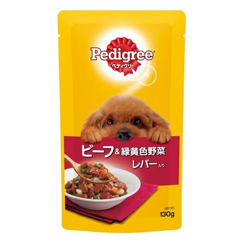 ペディグリーウェットパウチシリーズ 成犬用元気な毎日サポート 旨みビーフ&緑黄色野菜とレバー入り130g