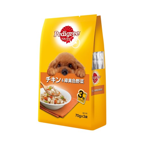 ペディグリーパウチ 成犬用 チキン&緑黄色野菜 70g×3P