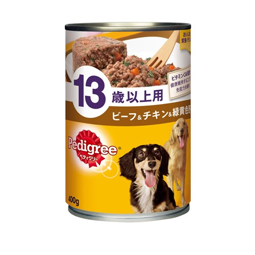 ☆ ペディグリー缶 13歳以上 ビーフ&チキン&緑黄色野菜 400g