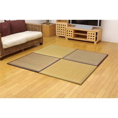 イケヒコ・コーポレーション(IKEHIKO)  ユニット畳 『タイド』 82×82×2.3cm 4枚(ベージュ2枚 ブラウン2枚)1セット (中材:低反発ウレタン+フェルト)