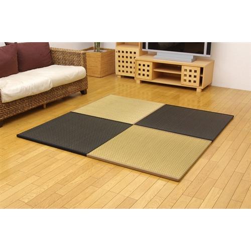 イケヒコ・コーポレーション(IKEHIKO)  純国産 ユニット畳 『右京』 82×82×2.5cm 4枚(ベージュ2枚 ブラック2枚)1セット