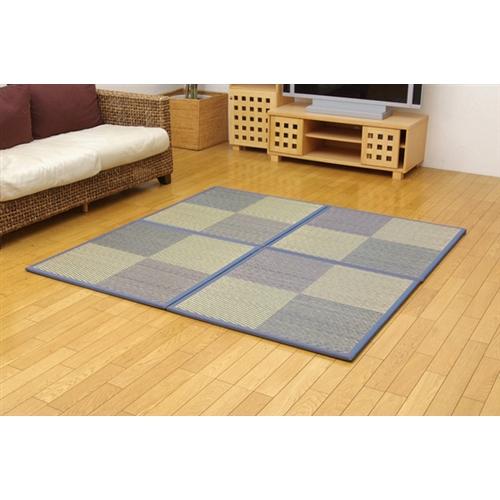イケヒコ・コーポレーション(IKEHIKO)  ユニット畳 『ニール』 ブルー 82×82×1.7cm(4枚1セット) 軽量タイプ