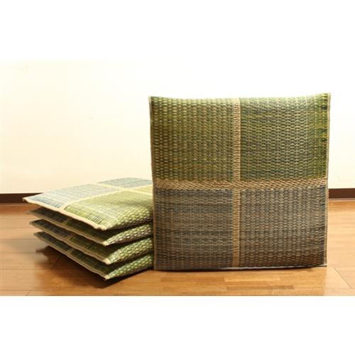 イケヒコ・コーポレーション(IKEHIKO)  純国産 織込千鳥 い草座布団 『フブキ 5枚組』 グリーン 55×55cm×5P