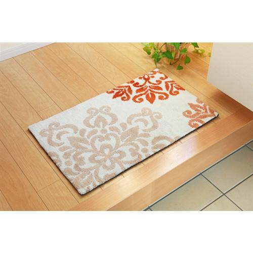 イケヒコ・コーポレーション(IKEHIKO)  玄関マット マイクロファイバー 北欧調 『ニール』 オレンジ 約55×85cm 滑りにくい加工