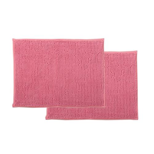 イケヒコ・コーポレーション(IKEHIKO)  バスマット 吸水速乾 洗える 無地 『ショートモール』 ピンク 約45×60cm 2枚組