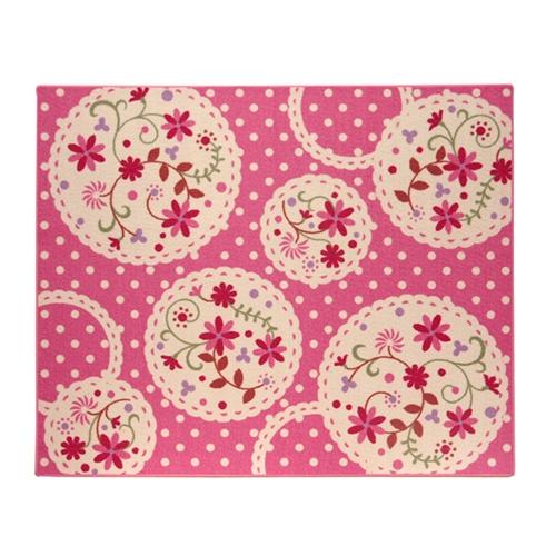 イケヒコ・コーポレーション(IKEHIKO)  デスクカーペット 女の子 花柄 『パミュツー』 ピンク 110×133cm