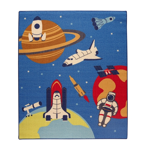 イケヒコ・コーポレーション(IKEHIKO)  デスクカーペット 男の子 宇宙柄 『スペース』 ブルー 110×133cm