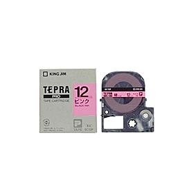 「テプラ」PROテープ 12mm パステルピンクに黒文字