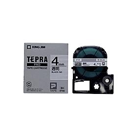 「テプラ」PROテープ 4mm 透明に黒文字