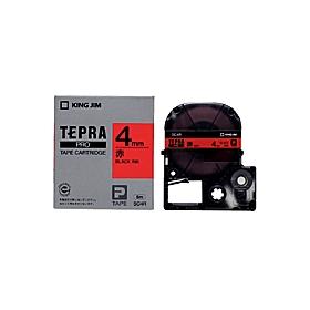 「テプラ」PROテープ 4mm パステル赤に黒文字