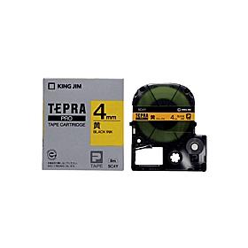 「テプラ」PROテープ 4mm パステル黄に黒文字