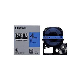 「テプラ」PROテープ 4mm パステル青に黒文字