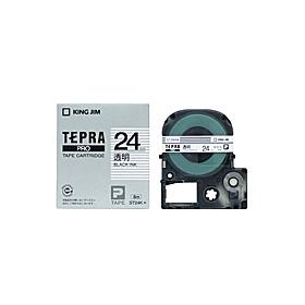 「テプラ」PROテープ 24mm 透明に黒文字