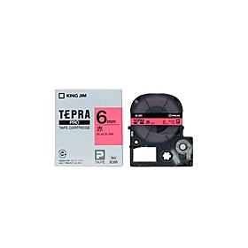 「テプラ」PROテープ 6mm パステル赤に黒文字