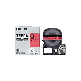 「テプラ」PROテープ 9mm パステル赤に黒文字